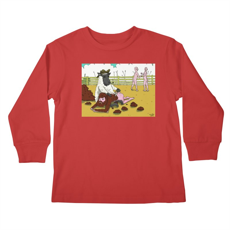 Sheering Sheep Kids Longsleeve T-Shirt by Baked Goods