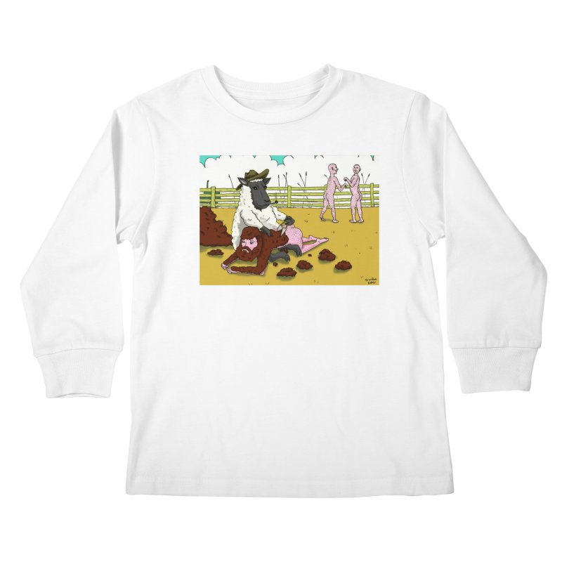 Sheering Sheep Kids Longsleeve T-Shirt by Baked Goods