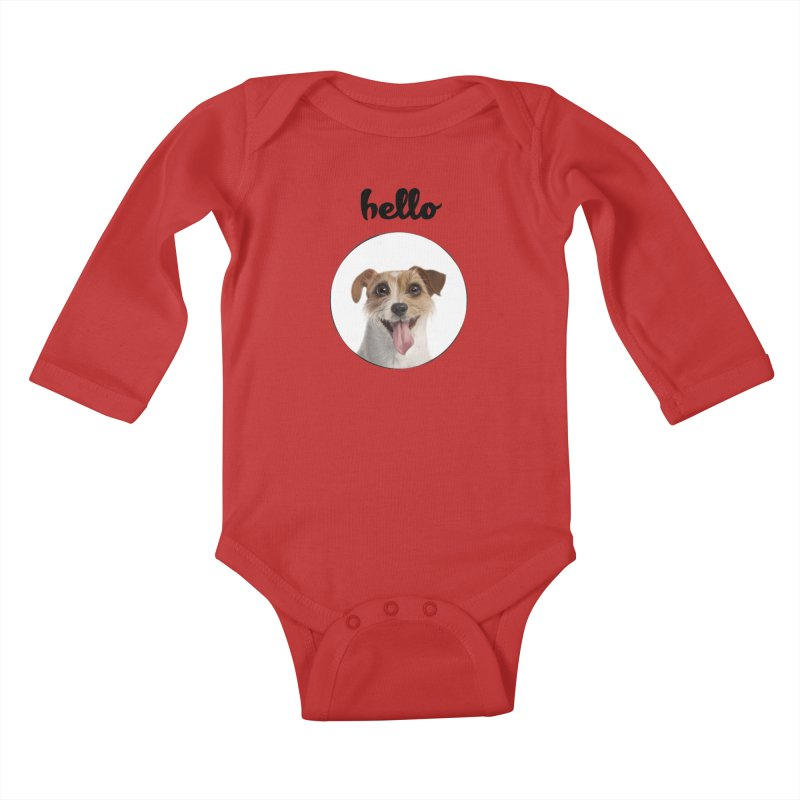 Hello Dog Kids Baby Longsleeve Bodysuit by bbdreamdesigns's Artist Shop