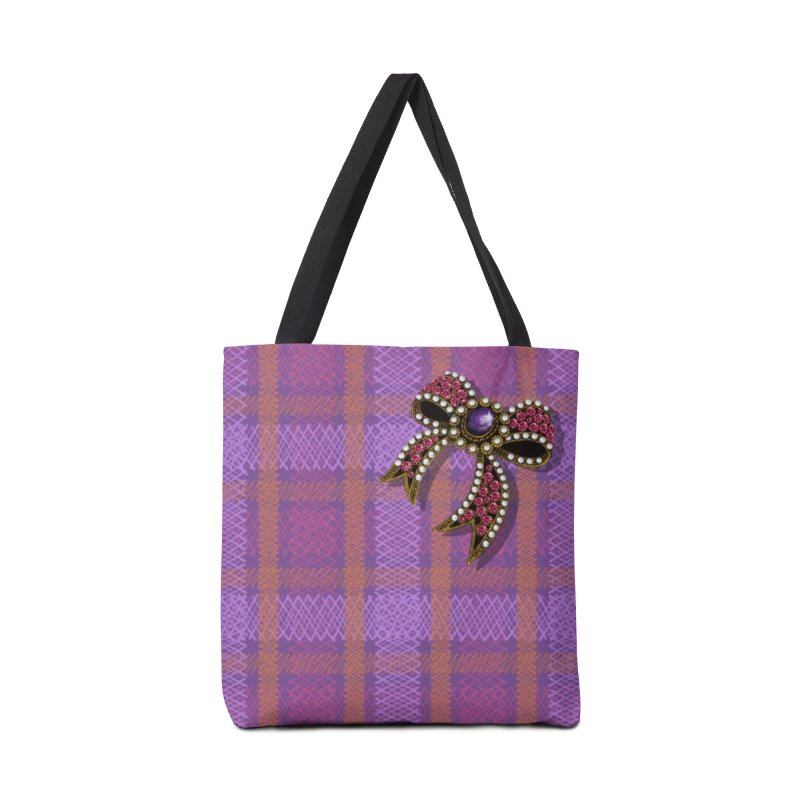 Diamond Bow on Checkered Pink Accessories Bag by bbdreamdesigns's Artist Shop