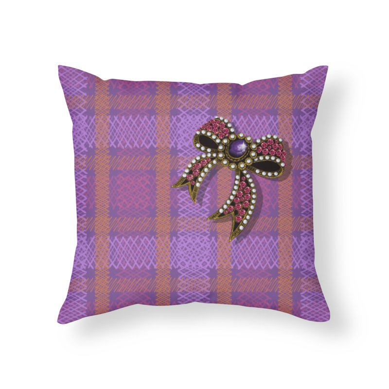 Diamond Bow on Checkered Pink Home Throw Pillow by bbdreamdesigns's Artist Shop