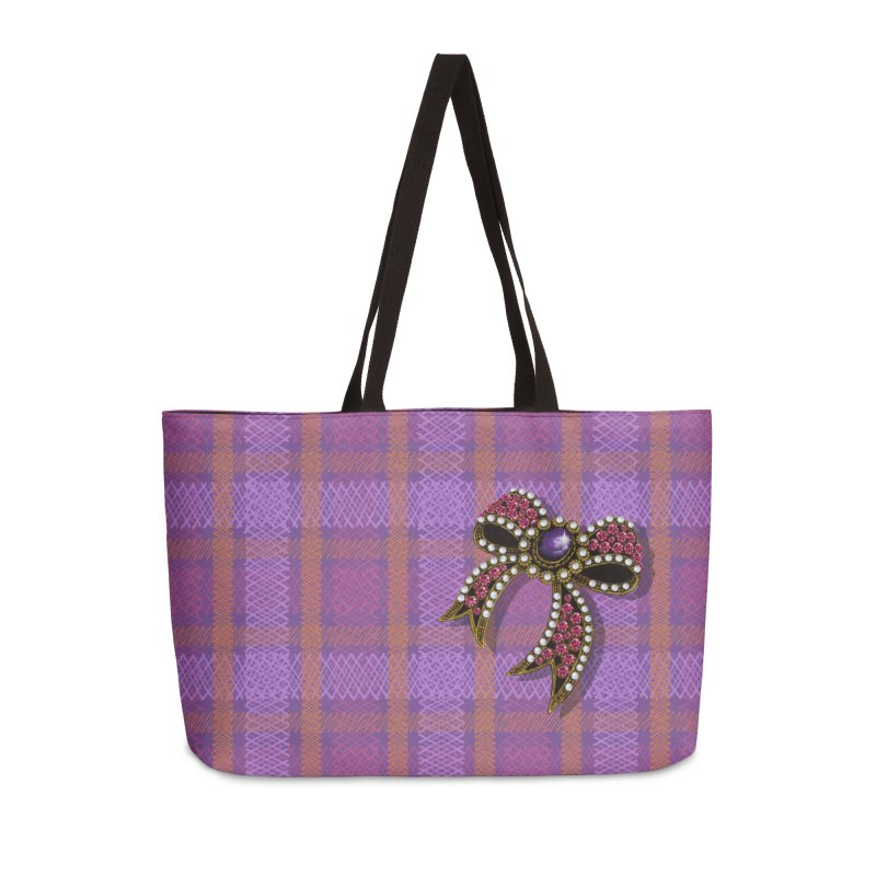 Diamond Bow on Checkered Pink Accessories Weekender Bag Bag by bbdreamdesigns's Artist Shop