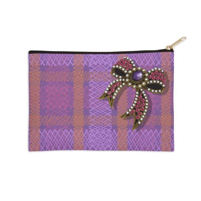 Diamond Bow on Checkered Pink Accessories Zip Pouch by bbdreamdesigns's Artist Shop