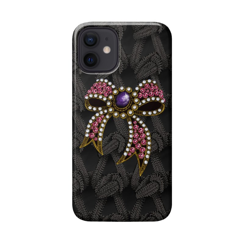 Diamond Bow on Knitted Dark Accessories Phone Case by bbdreamdesigns's Artist Shop