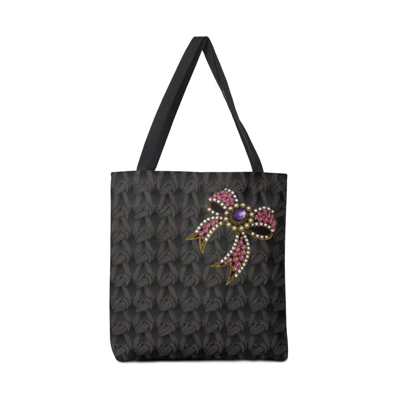 Diamond Bow on Knitted Dark Accessories Tote Bag Bag by bbdreamdesigns's Artist Shop