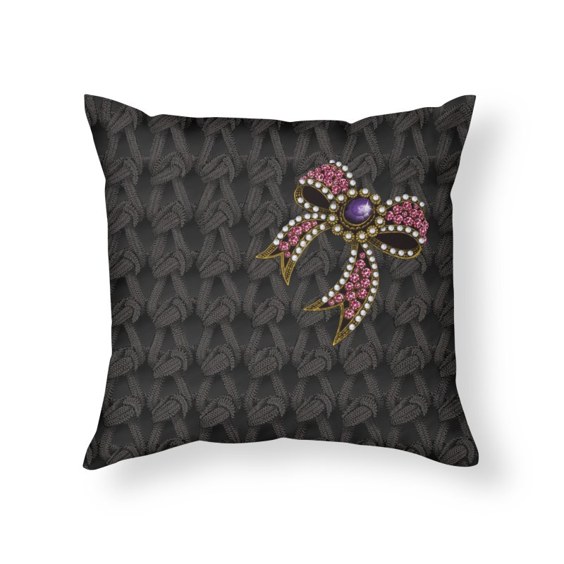 Diamond Bow on Knitted Dark Home Throw Pillow by bbdreamdesigns's Artist Shop