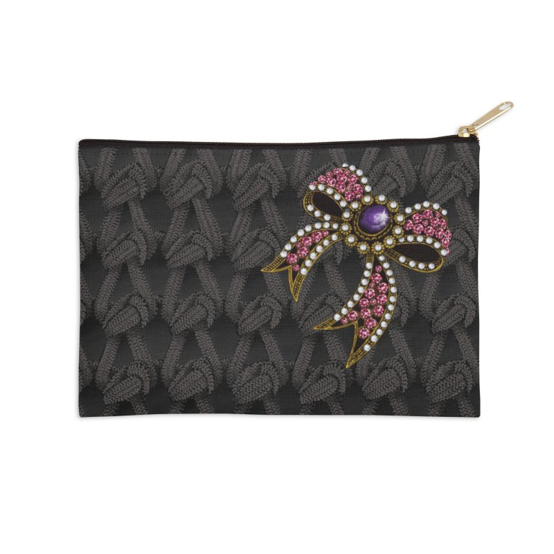 Diamond Bow on Knitted Dark Accessories Zip Pouch by bbdreamdesigns's Artist Shop
