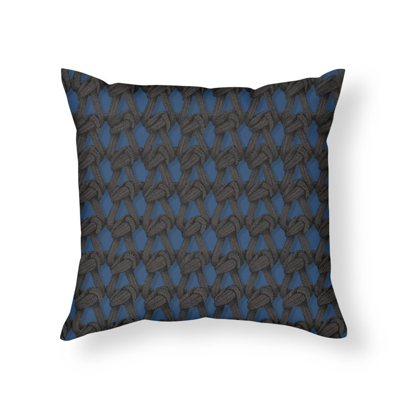 Knitted Blue Home Throw Pillow by bbdreamdesigns's Artist Shop
