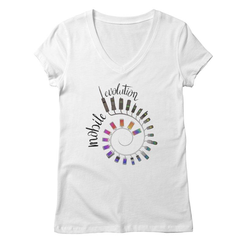 Mobile Evolution Women's Regular V-Neck by bbdreamdesigns's Artist Shop