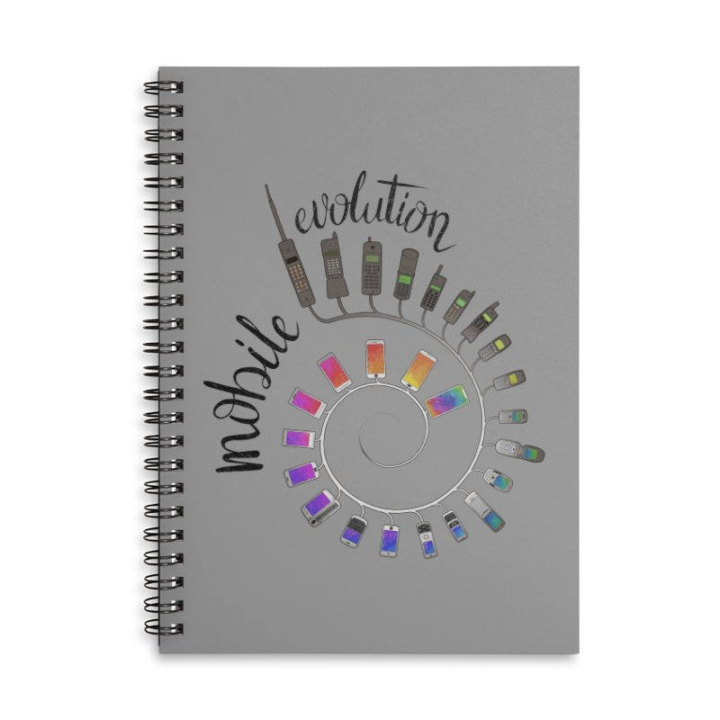 Mobile Evolution Accessories Lined Spiral Notebook by bbdreamdesigns's Artist Shop