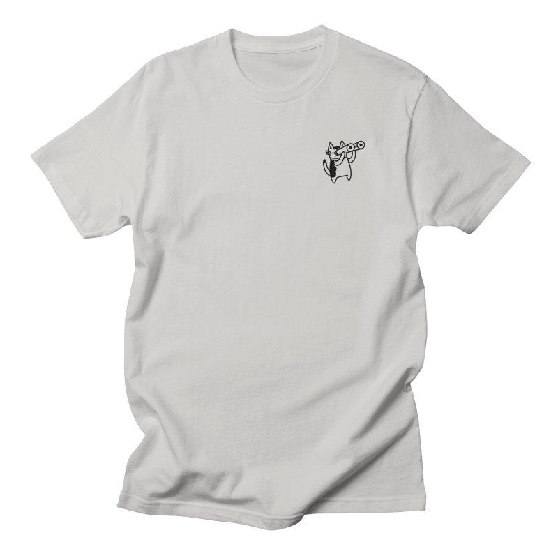 BINOCULAR CAT Men's Regular T-Shirt by RACHEL AURIEMMA