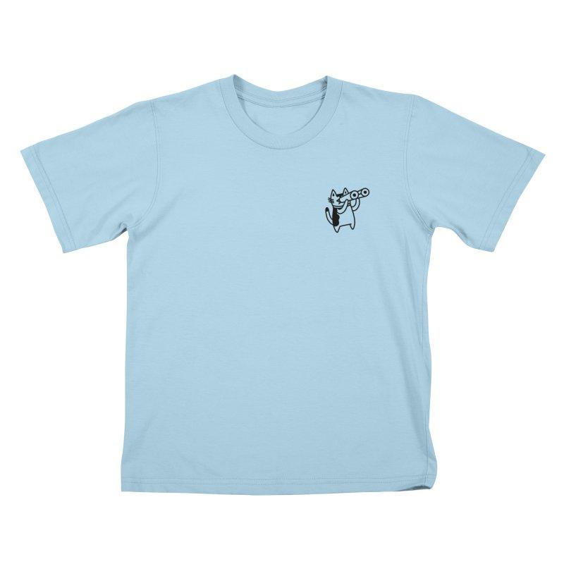 BINOCULAR CAT Kids T-Shirt by RACHEL AURIEMMA