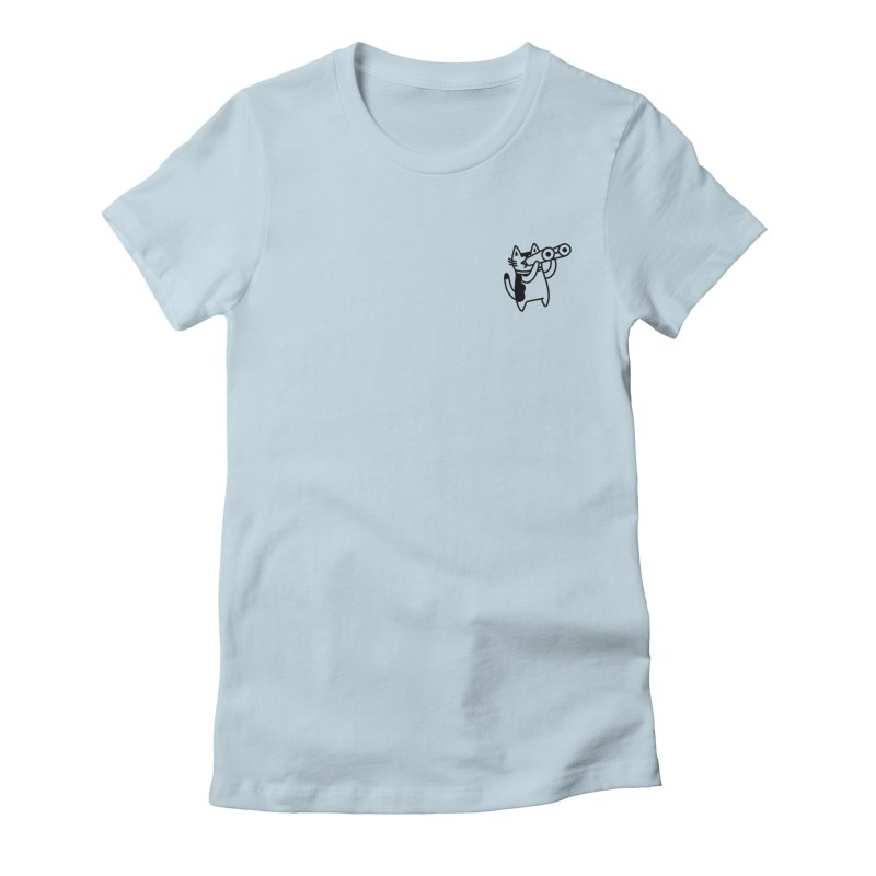 BINOCULAR CAT Women's Fitted T-Shirt by RACHEL AURIEMMA