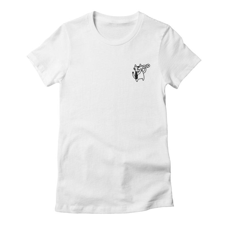 BINOCULAR CAT Women's Fitted T-Shirt by RACHEL AURIEMMA