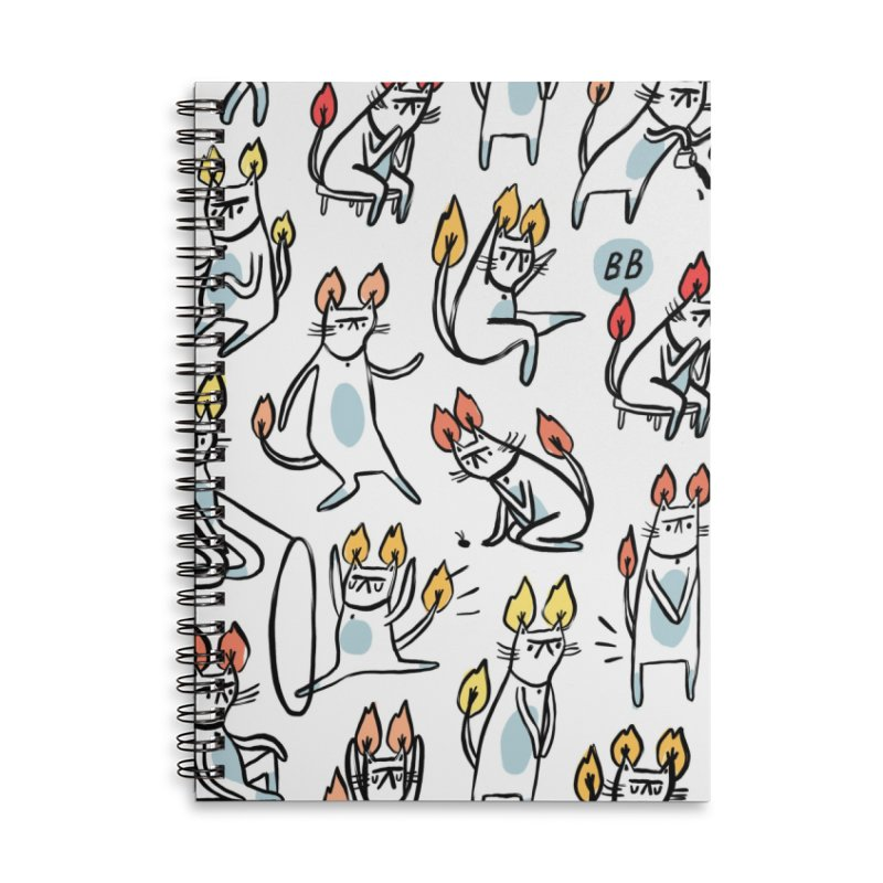 FIRECAT (WHITE VERSION) Accessories Lined Spiral Notebook by BB TAMAGOTCHI