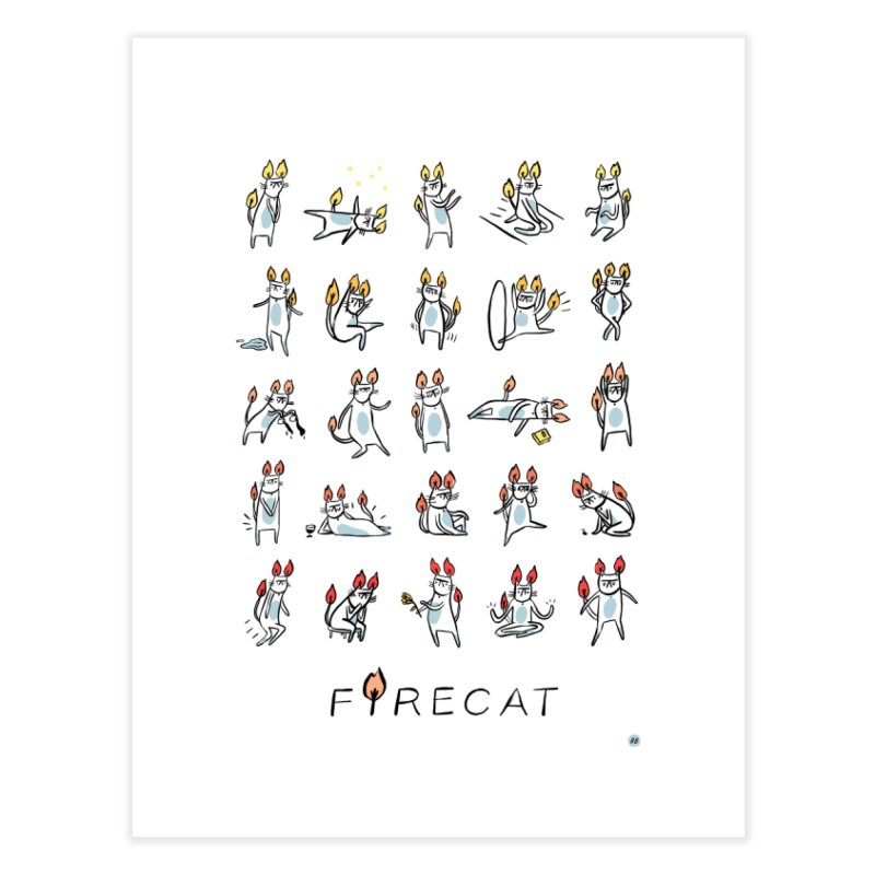 FIRECAT (WHITE VERSION) Home Fine Art Print by RACHEL AURIEMMA