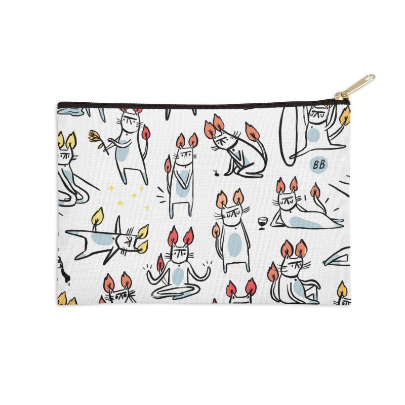 FIRECAT (WHITE VERSION) Accessories Zip Pouch by RACHEL AURIEMMA