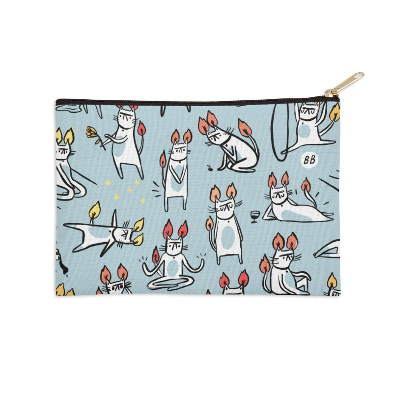 FIRECAT (BLUE VERSION) Accessories Zip Pouch by RACHEL AURIEMMA