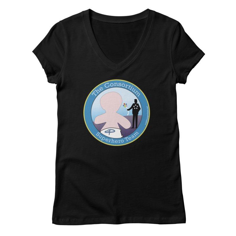 The Consortium Superhero Team Badge Women's V-Neck by OFL BDTS Shop