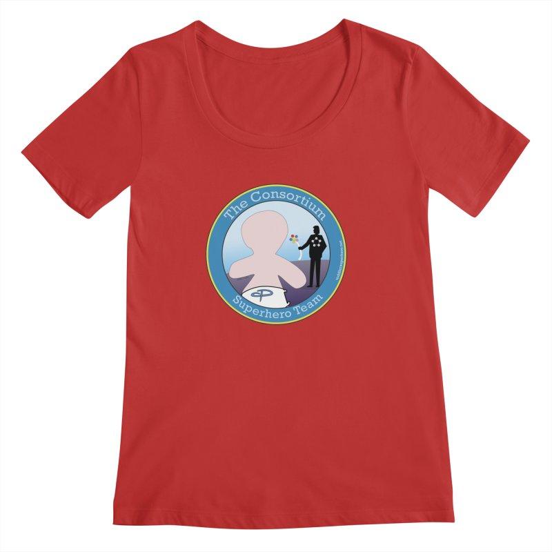 The Consortium Superhero Team Badge Women's Regular Scoop Neck by OFL BDTS Shop