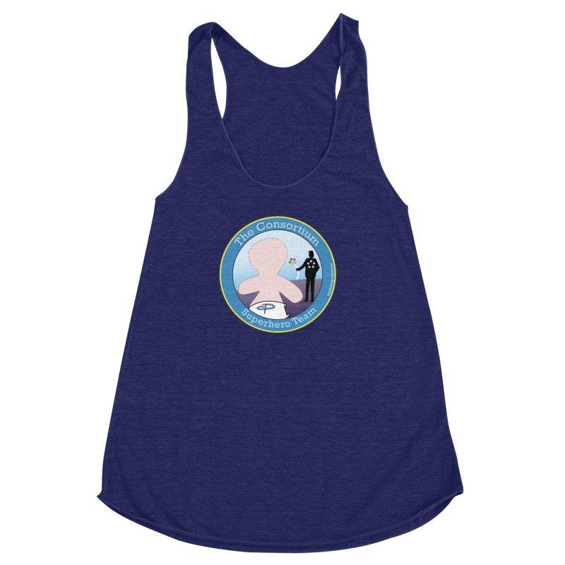 The Consortium Superhero Team Badge Women's Racerback Triblend Tank by OFL BDTS Shop