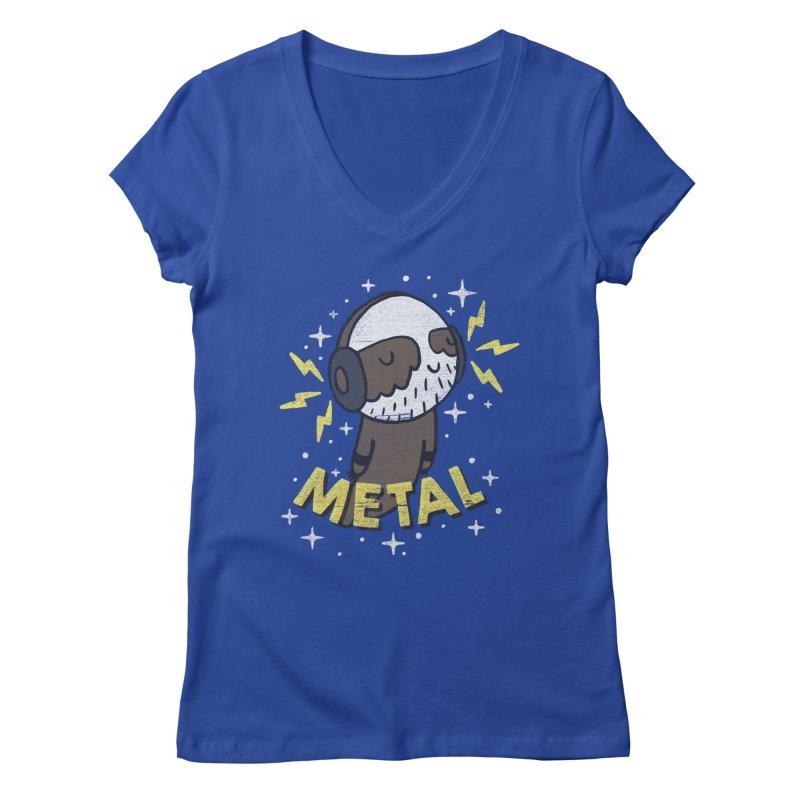 METAL IS MY CO-PILOT Women's Regular V-Neck by Beanepod