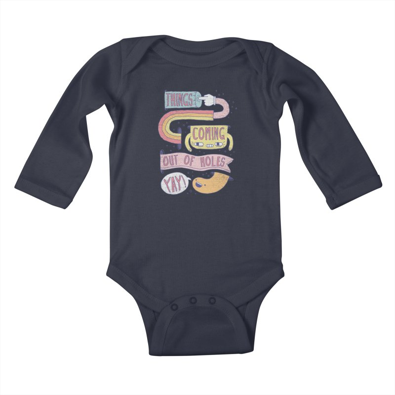 THINGS COMING OUT OF HOLES YAY! Kids Baby Longsleeve Bodysuit by Beanepod