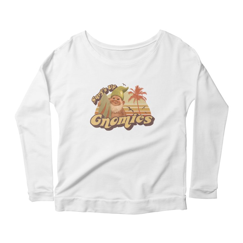 SURF'S UP GNOMIES Women's Scoop Neck Longsleeve T-Shirt by Beanepod