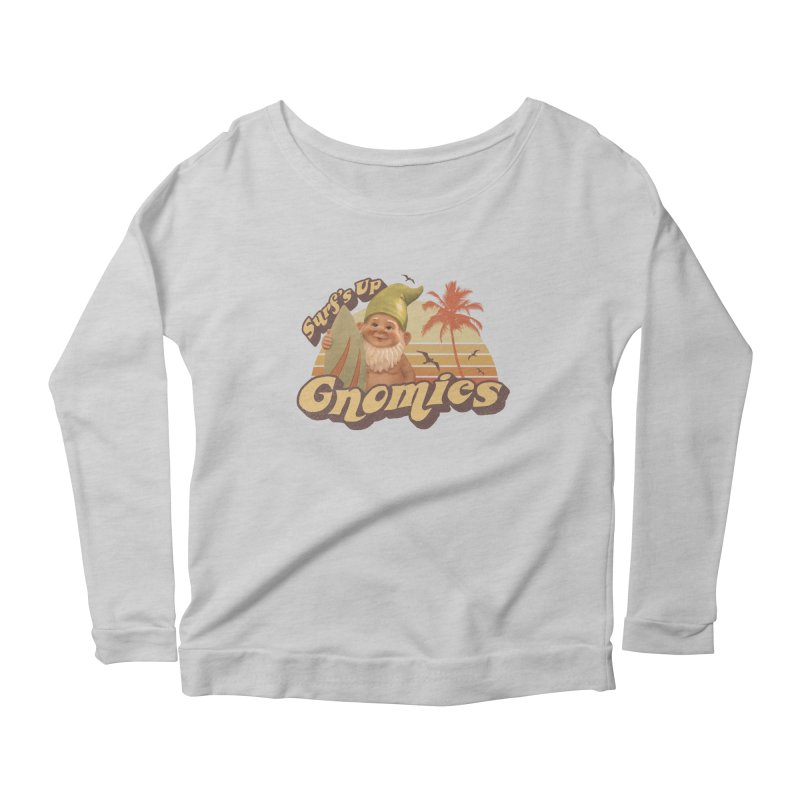 SURF'S UP GNOMIES Women's Scoop Neck Longsleeve T-Shirt by Beanepod