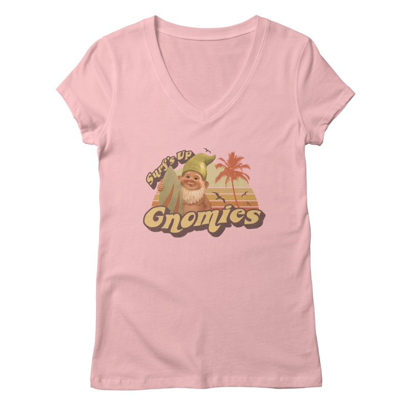 SURF'S UP GNOMIES Women's V-Neck by Beanepod