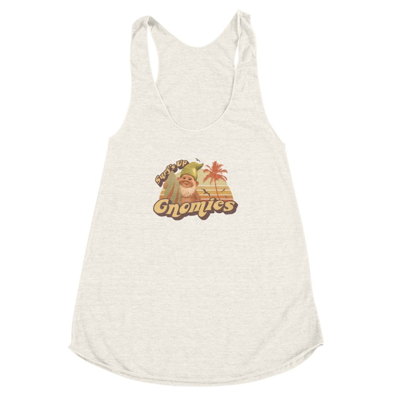 SURF'S UP GNOMIES Women's Racerback Triblend Tank by Beanepod