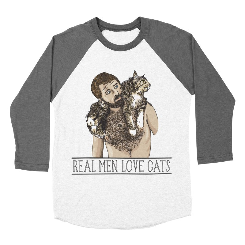 Real Men Love Cats in Men's Baseball Triblend Longsleeve T-Shirt Tri-Grey Sleeves by Beards and Cats Store
