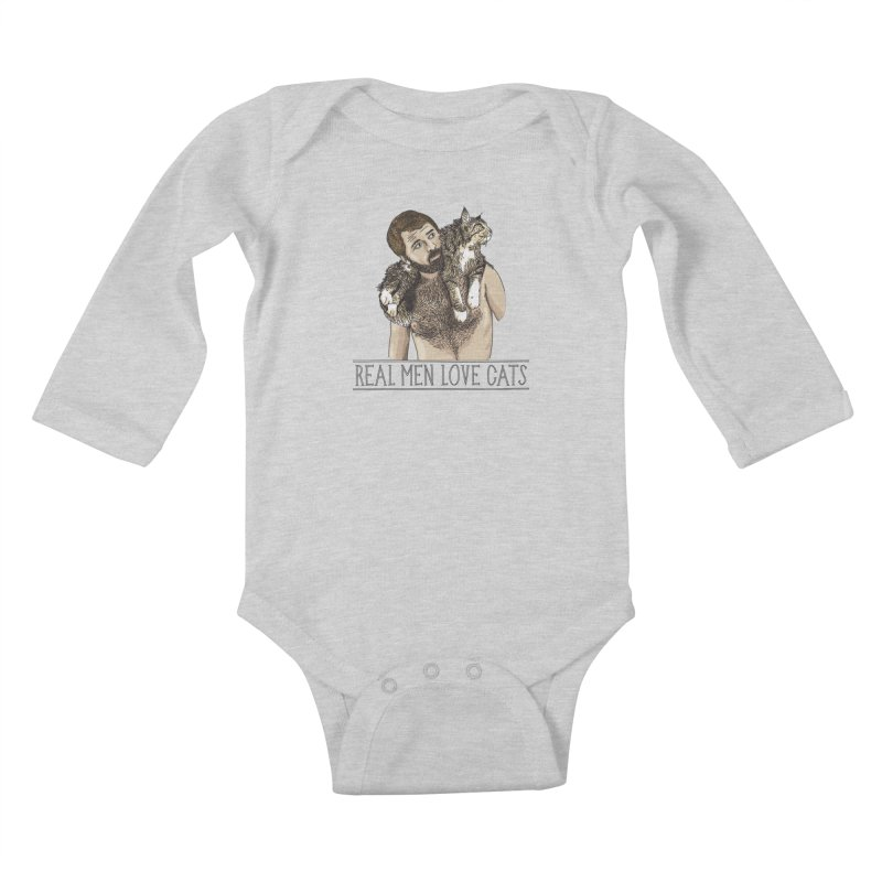 Real Men Love Cats in Kids Baby Longsleeve Bodysuit Heather Grey by Beards and Cats Store
