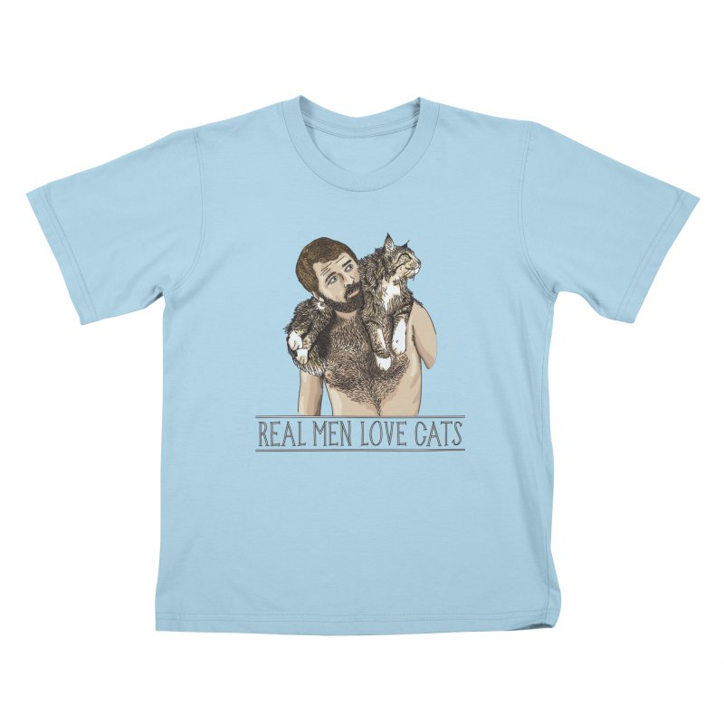 Real Men Love Cats in Kids T-Shirt Powder Blue by Beards and Cats Store