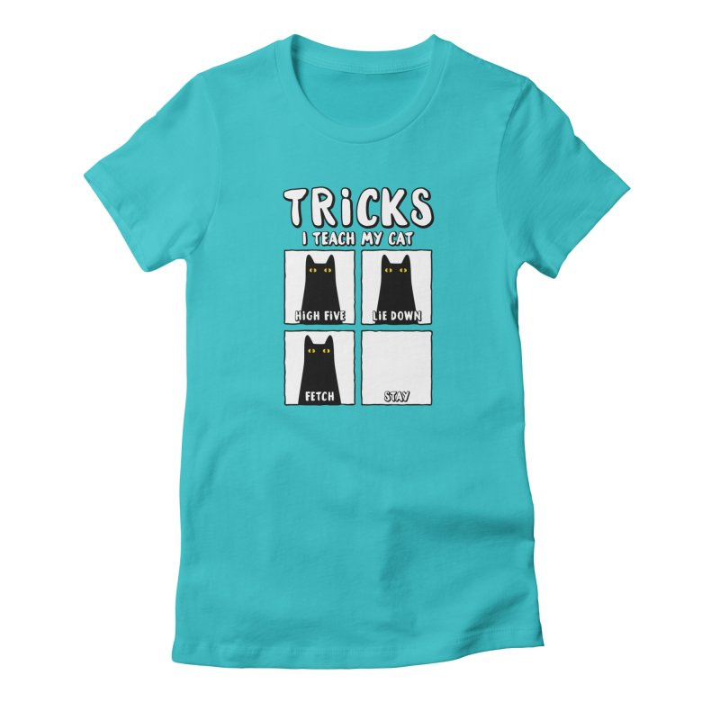 Tricks in Women's Fitted T-Shirt Pacific Blue by Beards and Cats Store