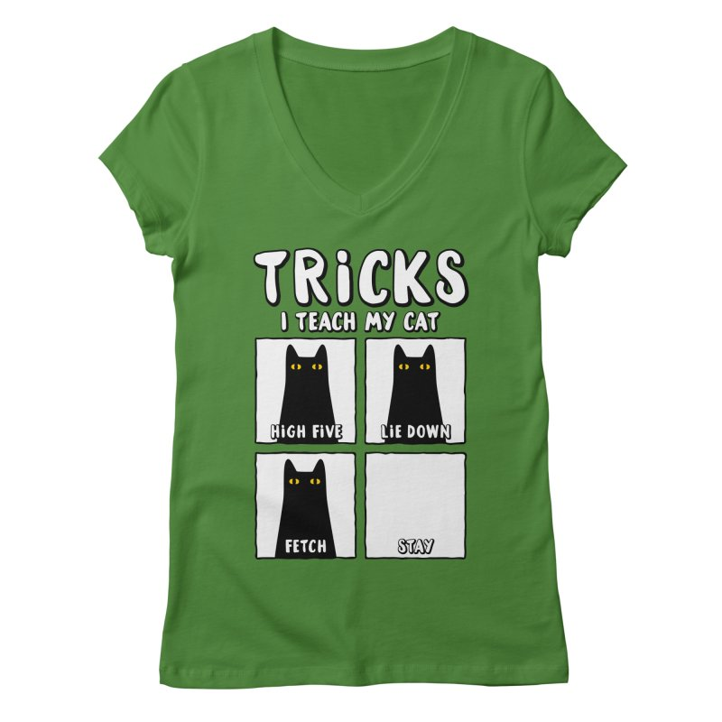 Tricks Women's Regular V-Neck by Beards and Cats Store