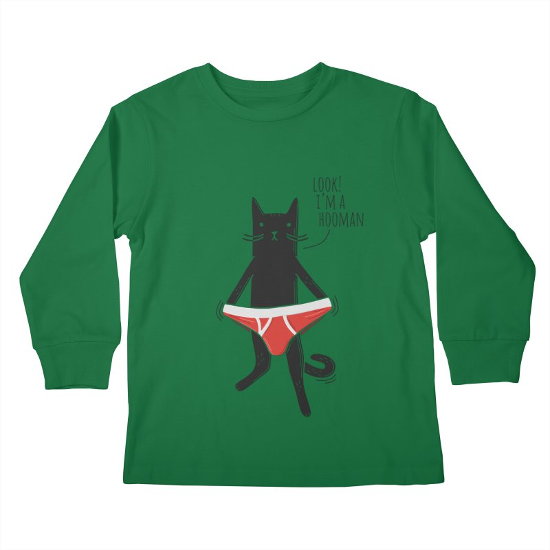 Look! I'm a Hooman Kids Longsleeve T-Shirt by Beards and Cats