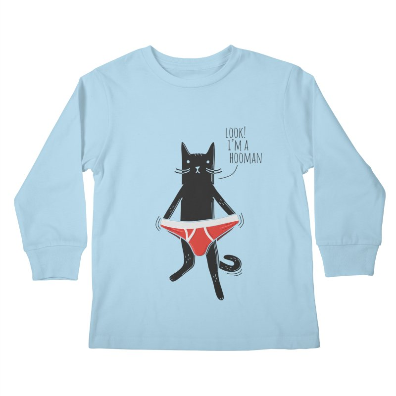 Look! I'm a Hooman Kids Longsleeve T-Shirt by Beards and Cats Store
