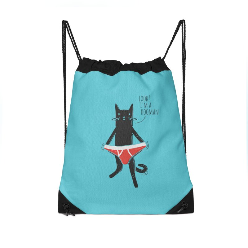 Look! I'm a Hooman Accessories Drawstring Bag Bag by Beards and Cats Store