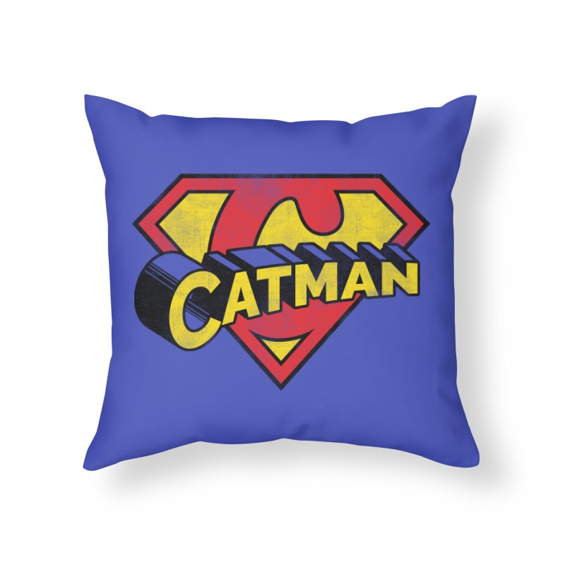 Catman Home Throw Pillow by Beards and Cats Store