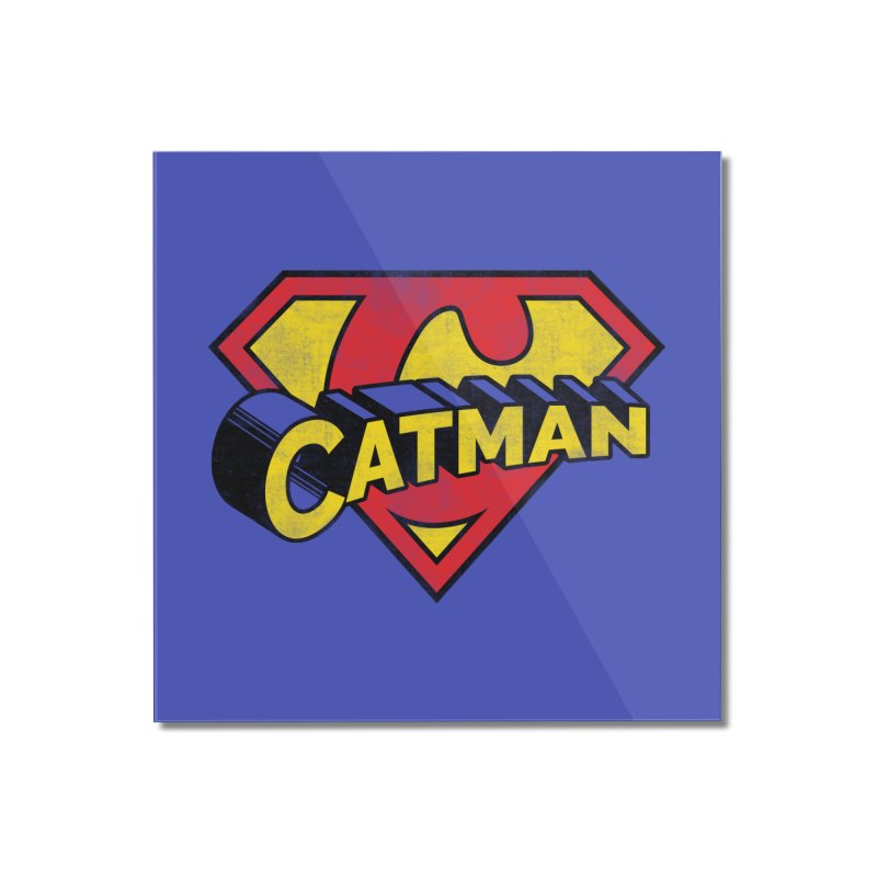 Catman Home Mounted Acrylic Print by Beards and Cats Store