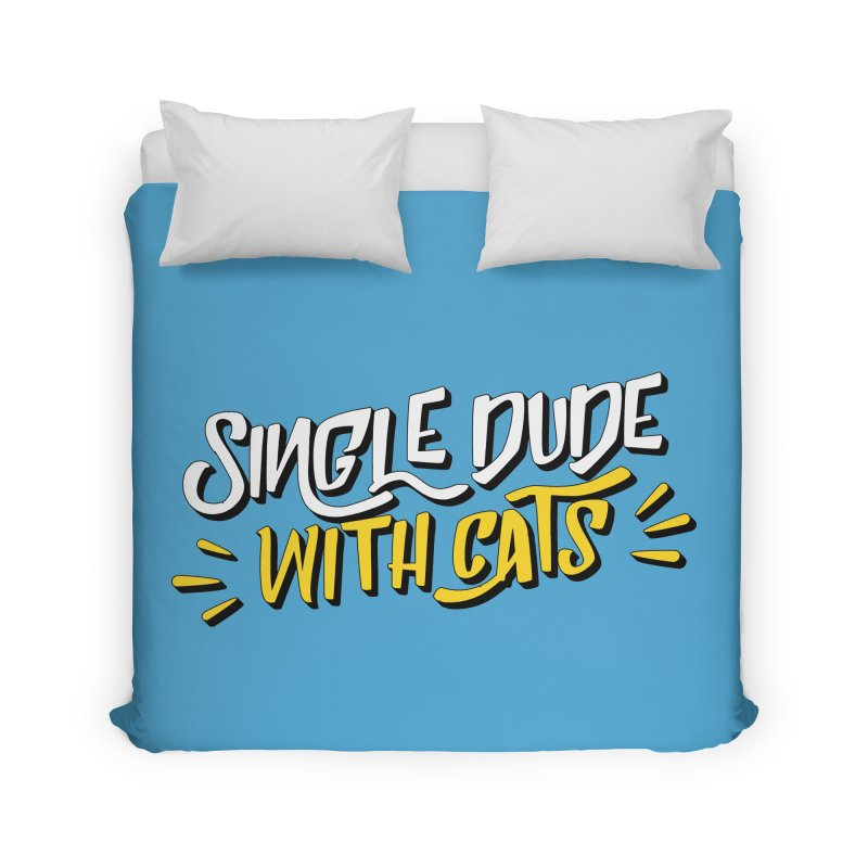 Single Dude With Cats Home Duvet by Beards and Cats Store