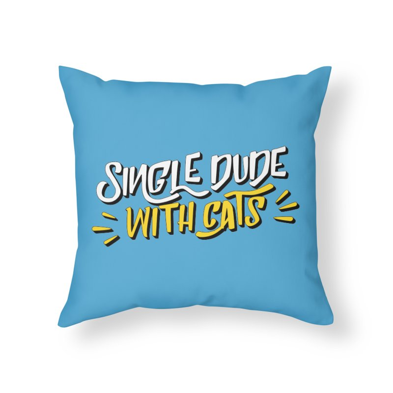 Single Dude With Cats Home Throw Pillow by Beards and Cats Store