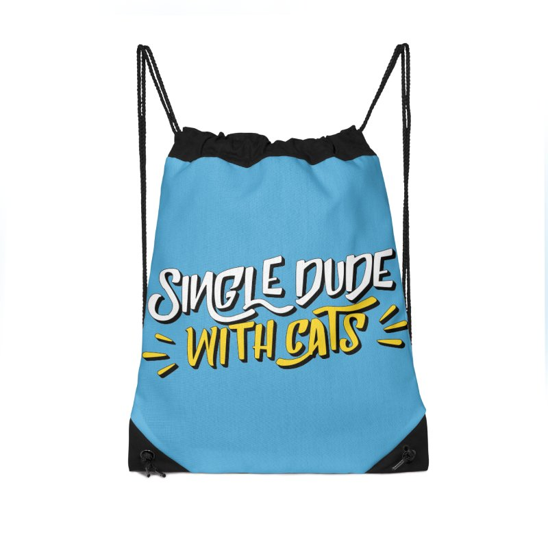 Single Dude With Cats Accessories Drawstring Bag Bag by Beards and Cats Store
