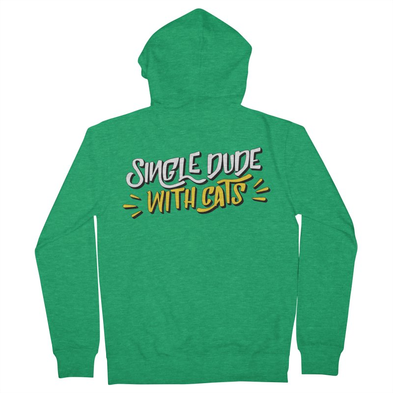 Single Dude With Cats Men's French Terry Zip-Up Hoody by Beards and Cats Store