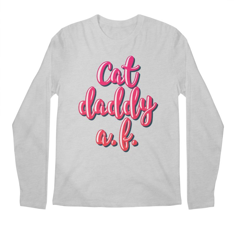 Cat Daddy AF in Men's Regular Longsleeve T-Shirt Heather Grey by Beards and Cats Store