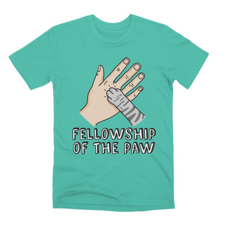 Fellowship of the Paw in Men's Premium T-Shirt Sea Green by Beards and Cats Store