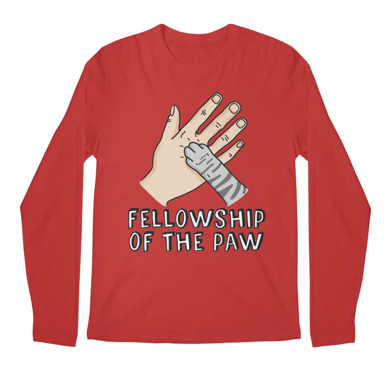 Fellowship of the Paw in Men's Regular Longsleeve T-Shirt Red by Beards and Cats Store