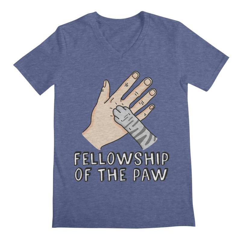 Fellowship of the Paw in Men's Regular V-Neck Heather Blue by Beards and Cats Store