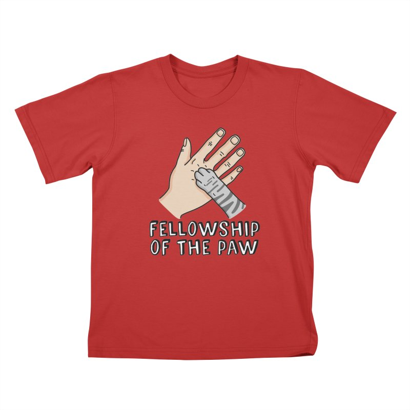 Fellowship of the Paw in Kids T-Shirt Red by Beards and Cats Store